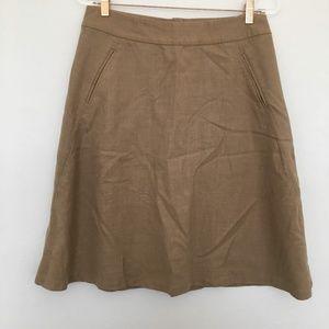 Banana Republic Wool Knee Length Tan Skirt
